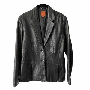 Vintage Anonymous John Carlisle Black Leather Coat
